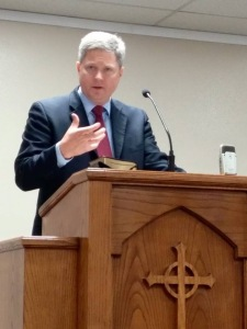 Pastor Joe Troutman preaching at San Antonio Reformed on June 21, 2015. HT: Billie Moody